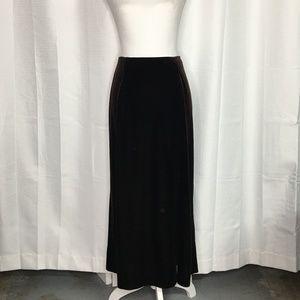 Bob Mackie Brown Velvet Maxi Skirt Side Slit